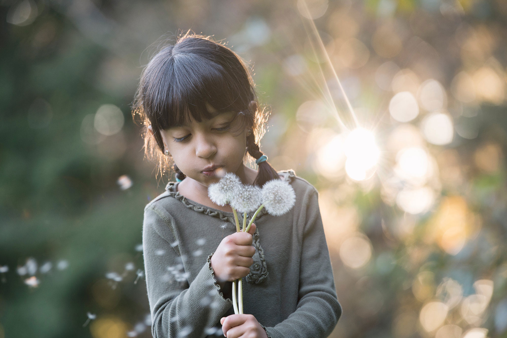 Girl blowing dandelions while the beauitful Seattle Autumn light was setting in